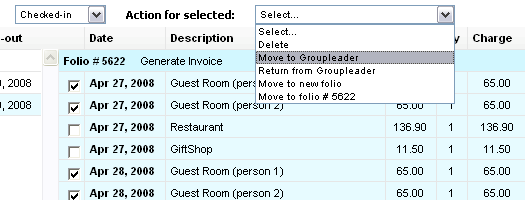 Ability to transfer charges between folios and to Goupleader